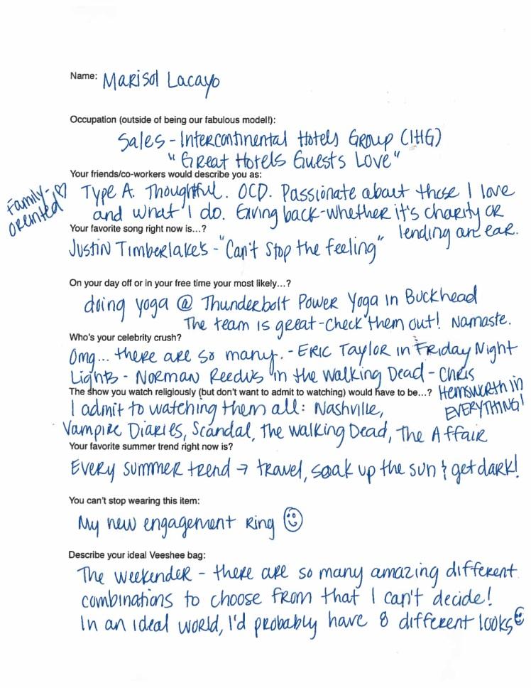 Marisol Model Questionnaire