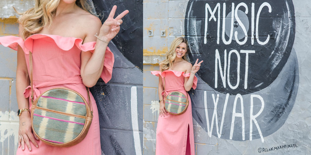 Round bag on Music Not War wall